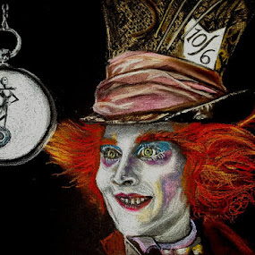 Alice Through The Looking Glass Tim Burton Crossover by Lyndsay Hepburn - Drawing All Drawing ( alicethroughthelookingglass, johnnydeppmadhatter, madhatter, johnnydepp, alicethroughthelookingglasstimburtoncrossover, aliceinwonderland, timburton )