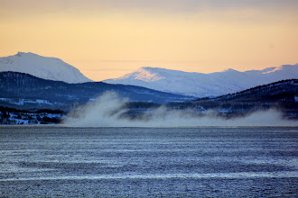 Photo: Cold air and less cold water = steam