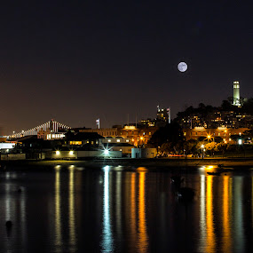 Full Moon over Aquatic Park by Terry Scussel - City,  Street & Park  Skylines ( full moon, aquatic park, san francisco, coit tower, night scenes, night, lights )