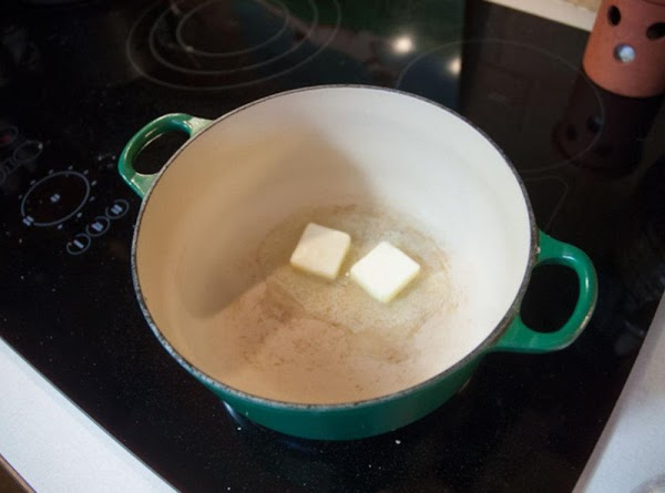 While the chops are happily cooking away, add the butter to a saucepan over...