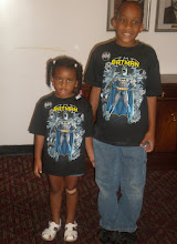 Photo: kaleya & jihad in their matching shirts inside Ebenezer Church