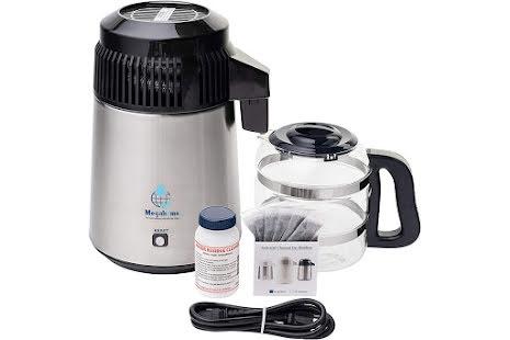 Megahome 316 Deluxe destillasjonsapparat for vann, syrefast stål, sort topp, glassmugge