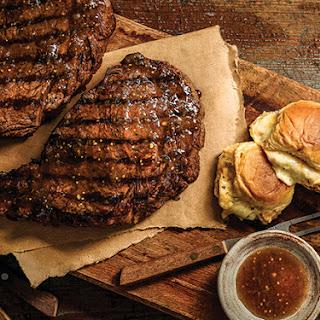 Three-Pepper Steak with Pull-Apart Cheesy Bread