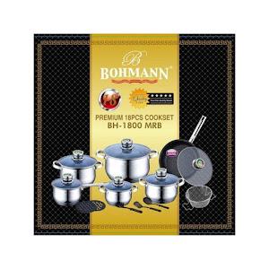 Set oale 18 piese Bohmann BH 1800 MRB, 9 straturi, tigaie granit, Inox