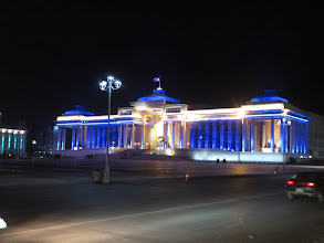 Photo: Sukhbatar square (again) at night