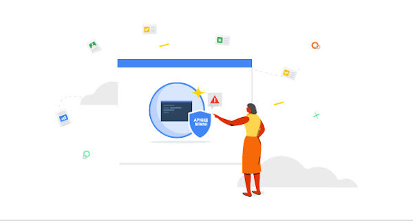 コーディング環境とセキュリティ バッジが表示されている大きな画面の前に立つ女性のイラスト