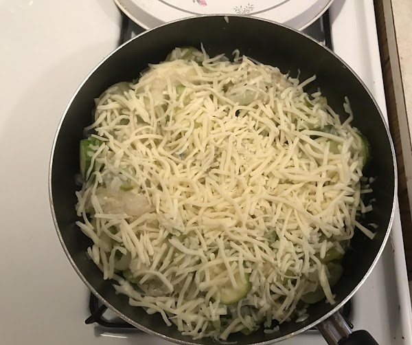 Sprinkle half of mozzarella on zucchini mixture and let melt.  Stir in until...