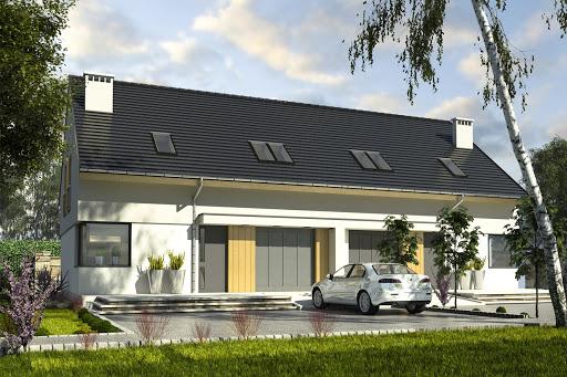 projekt Szczęśliwa z garażem 1-st. bliźniak A-BL1