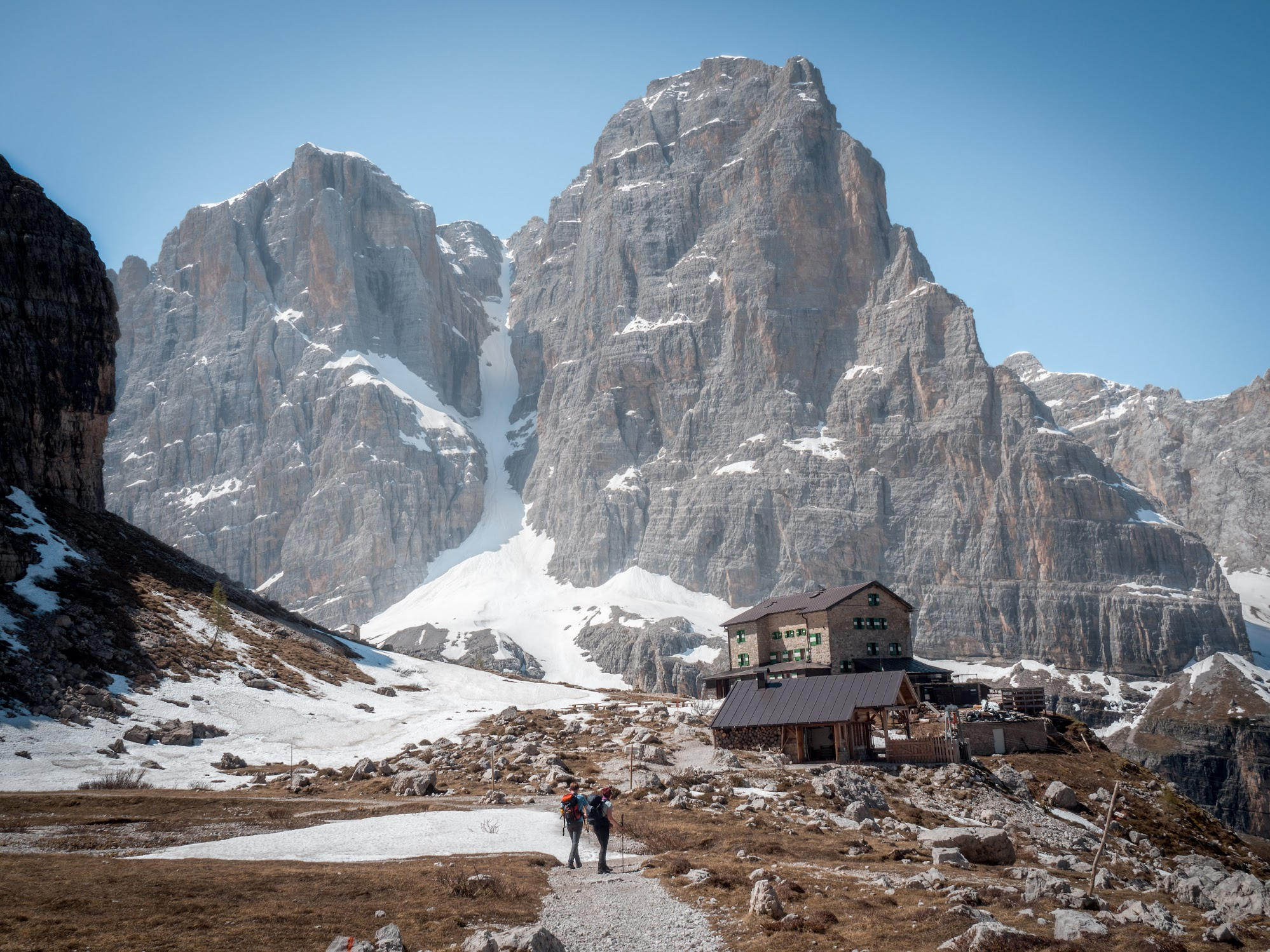 Rifugio Brentei in Dolomiti Brenta. It's 3 hr hike from the trailhead near Madonna di Campiglio.