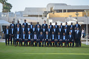 Bafana Bafana players in their Damat suits saying goodbye to Egypt.