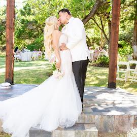 by Matthew Chambers - Wedding Bride & Groom ( bride, love, groom, bride and groom, beauty, kissing, kiss )