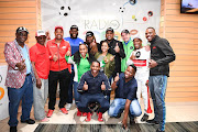 Robert Marawa with Producer Beverly Maphangwa,Thando Manana,Mamadou and fans during his first show on Metro FM and Radio 2000 the show is called MSW (Marawa Sports World Wide) at SABC Studios on August 01, 2018 in Johannesburg, South Africa.