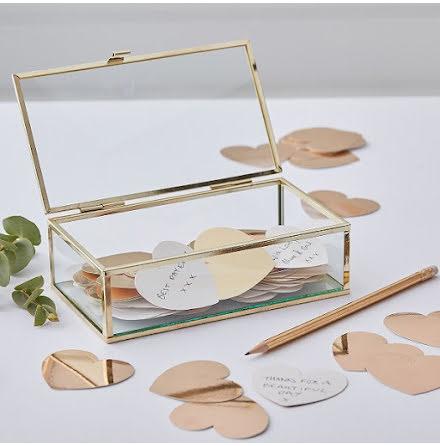 Glasbox - alternativ gästbok - Gold wedding