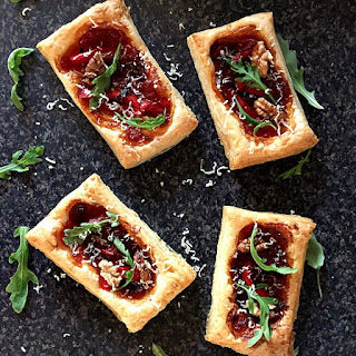 Puff Pastry Tarts with Caramelised Onions and Pickled Red Peppers Recipe