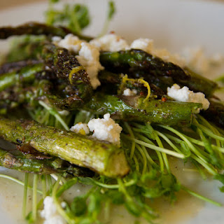 Grilled Asparagus and Pea Shoot Salad.