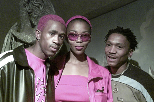 Mafikizolo members Theo Kgosinkwe, Nhlanhla Nciza and the late Tebogo Madingoane.