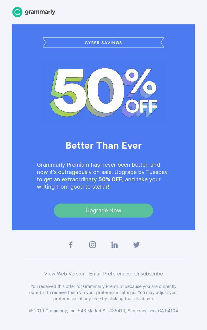 An example of a promotional email.