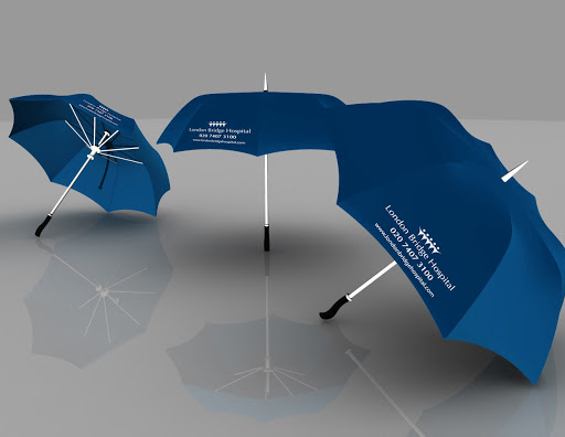 Branded promotional umbrellas 3D visuals