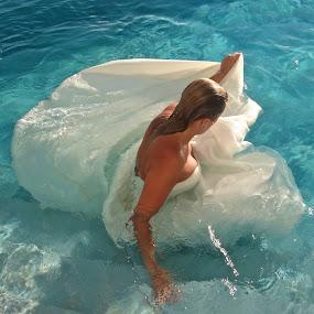 Trash The Dress!  by Jennifer Lamanca Kaufman - People Fashion ( water, anguilla, vacation, blue, pool, wedding, white, wedding dress, marriage, women, trash the dress, caribbean )