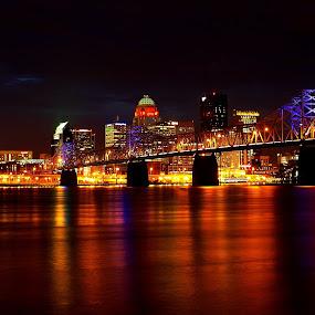 Louisville by Kara Brothers - City,  Street & Park  Skylines ( pwcskylines, night, lights )