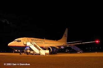 Photo: Braathens B737-700 after the day's work. At Kristiansand Airport, Kjevik (KRS/ENCN)