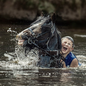 Living the Moment by KT Allen - People Street & Candids ( horse, travellers, appleby, gypsy, river )