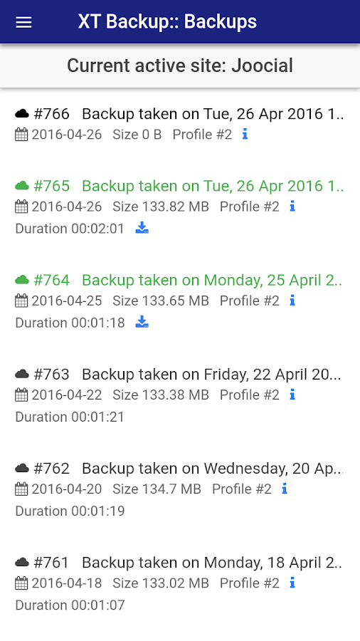 XT Backup for Akeeba- screenshot