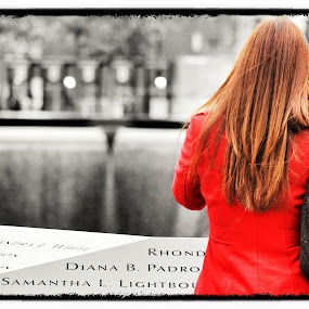 Red Memorial by Scott Roth - People Street & Candids ( memorial newyorkcity ground zero terrorist, women, lady, red )