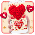 Red Valentine Hearts Keyboard Theme icon