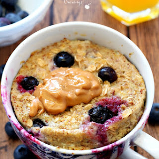 Blueberry Banana Microwave Baked Oatmeal in a Mug.