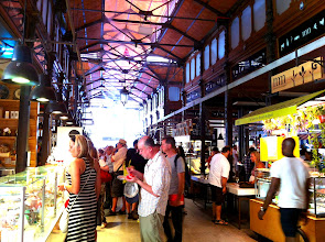 Photo: Mercado de San Miguel.  Gourmet market food market with a great selection of Spanish  foods and drinks for sampling.  Madrid.