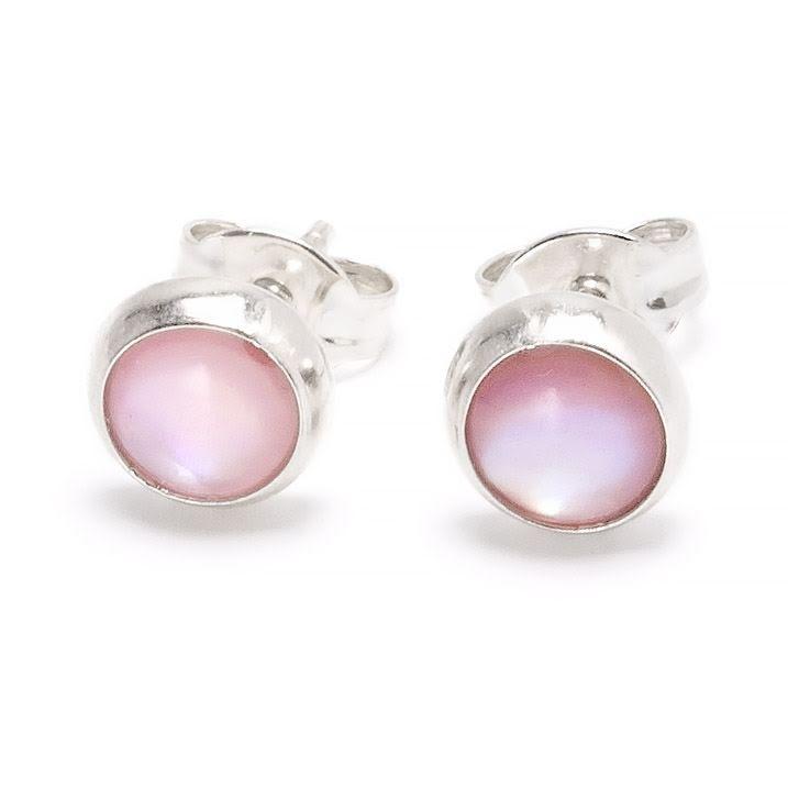 Pärlemor rosa, stiftörhänge 6 mm