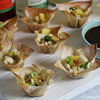 Kalua Pork Wontons with Pineapple Teriyaki Sauce