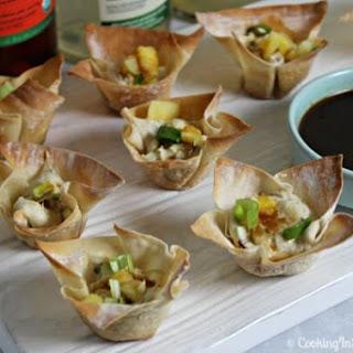 Kalua Pork Wontons with Pineapple Teriyaki Sauce