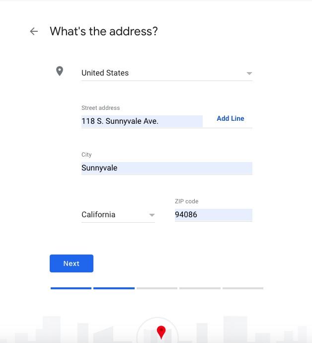 enter business address