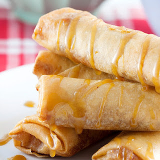 Turon (Filipino Banana Lumpia) with Salted Caramel Sauce