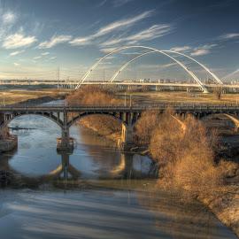 Trinity River at Dallas by Michael McMurray - City,  Street & Park  Vistas ( margaret hunt hill, arch, trinity river, flood plain, dallas, viaduct, texas, power lines, margaret mcdermott, bridge, river bottom, houston street, golden light )