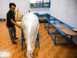 Photo: prepare the fiberglass cloth for exterior side glassing