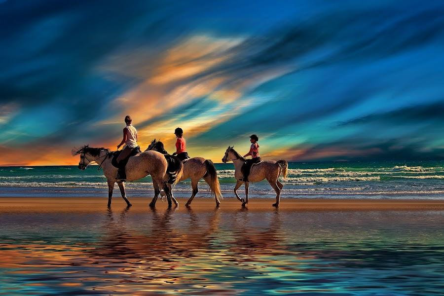 Perfect Sunday by Yara GB - People Family ( horses nikon, beach, mom with kids )