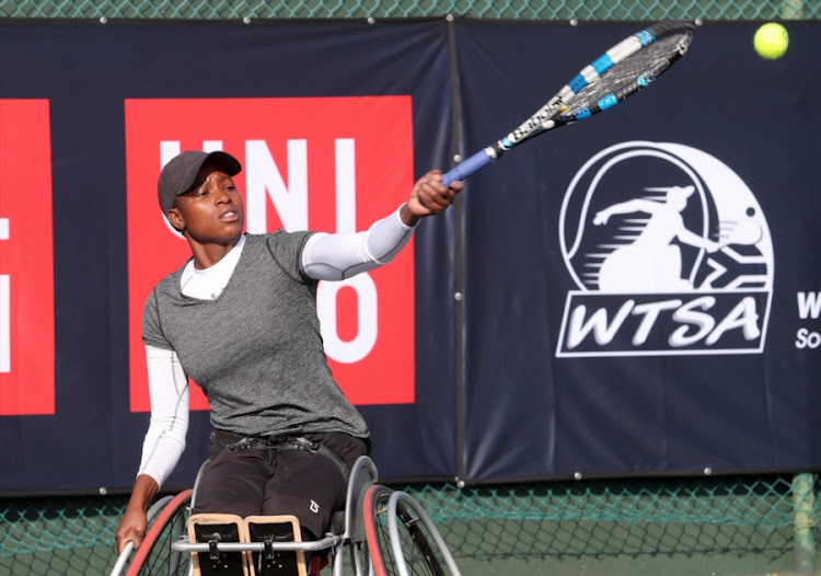 Kgothatso Montjane of South Africa in action in the women's final during day 4 of the Wheelchair Tennis Joburg Open at the Arthur Ashe Tennis Centre on July 05, 2017 in Johannesburg, South Africa.