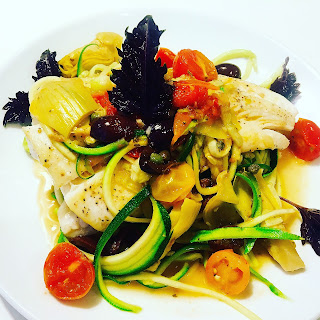 Mediterranean pan-seared Halibut with zoodles.