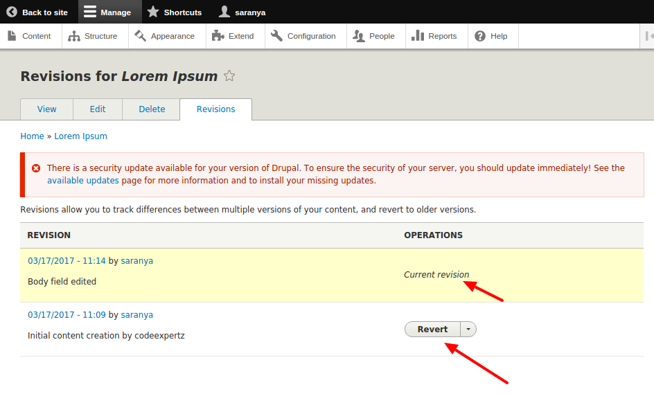Revisions for Lorem Ipsum   drupal 8.2.5.png