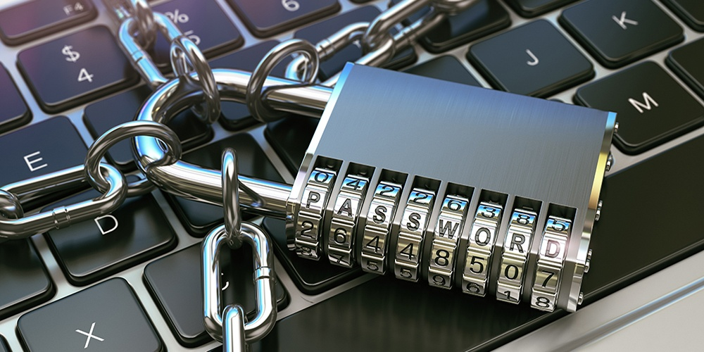 a silver lock on keyboards showing security
