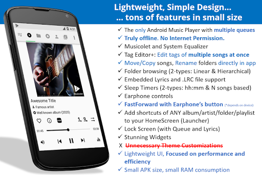 Musicolet Music Player [Free, No ads] 4.1 build157 screenshots 1