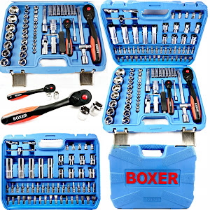 Trusa chei BOXER 108 piese, albastru, Chrome Vanadium, Polonia