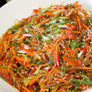 Vegan Japchae recipe (Korean Stir-Fried Sweet Potato Noodles)