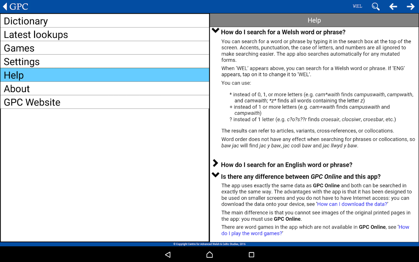 GPC Geiriadur Welsh Dictionary- screenshot