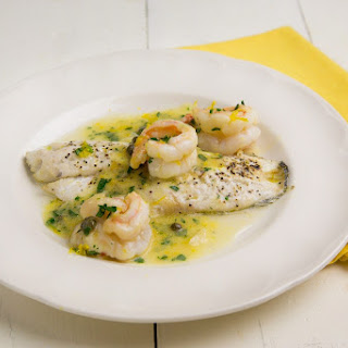 Black Sea Bass with Shrimp in a Lemon Scampi Sauce.