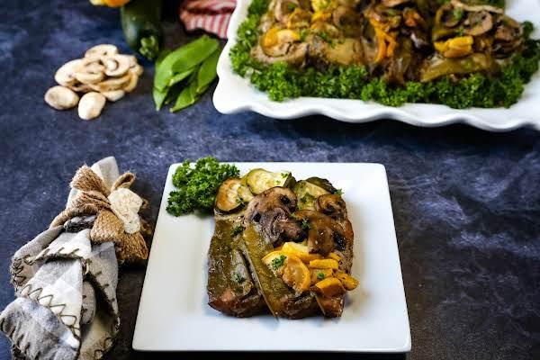 Summer Grillin' Vegetable & Fish Bundle On A Plate.