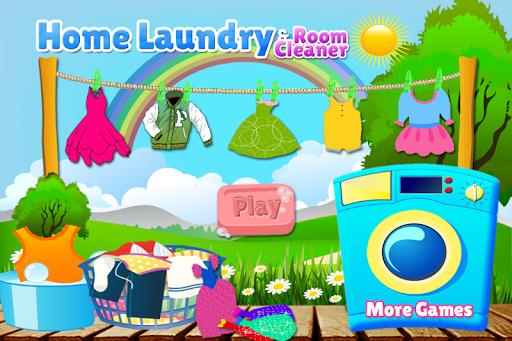 洗衣洗布遊戲的女孩